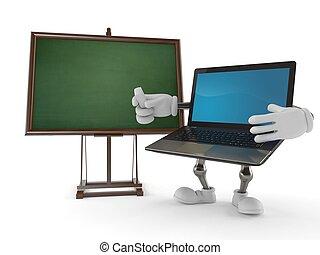 computador portatil, carácter, blanco, pizarra