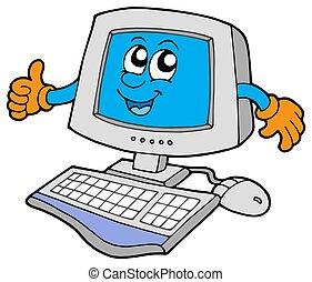computadora, feliz