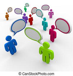 Comunicación desorganizada, gente que habla a la vez