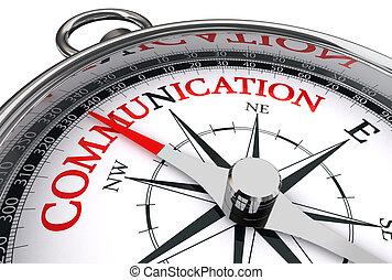 Comunicación roja sobre brújula conceptual