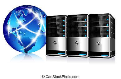 comunicación, servidores, internet