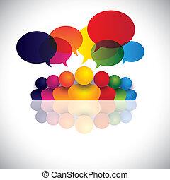 Comunicación social de medios de comunicación o reunión de personal de oficina o chicos hablando. El vector gráfico también representa la conferencia de la gente, la interacción social de medios de comunicación, el compromiso de los niños, las conversaciones de los empleados