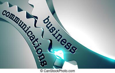 Comunicaciones de negocios sobre engranajes de metal.