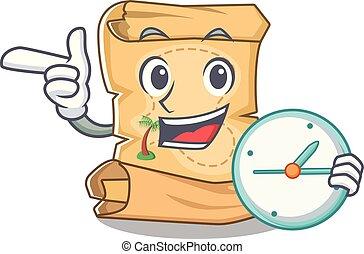Con el mapa del tesoro de la mascota del reloj en la bolsa de personajes