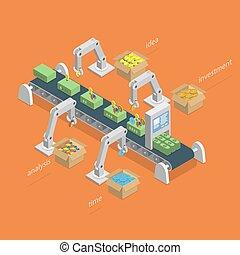 concept., proceso, elaboración, isométrico, dinero