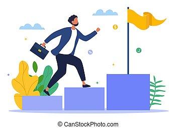 concepto, éxito, financiero