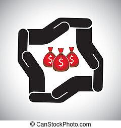concepto, ahorro, protección, dinero, moneda, vector, seguridad, o