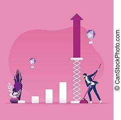 concepto, crecimiento, empresa / negocio