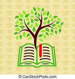 Concepto de Educación con libro y árbol