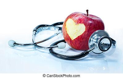Concepto el amor por la salud - manzana
