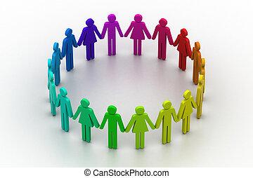 concepto, gente, crear, equipo de trabajo, circle., 3d