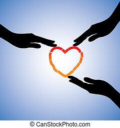 Concepto ilustración de curación de corazón roto. El gráfico muestra manos que ayudan al corazón a recuperarse del dolor emocional y el trauma