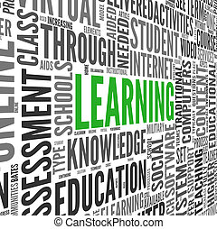 concepto, palabra, nube, aprendizaje, etiqueta
