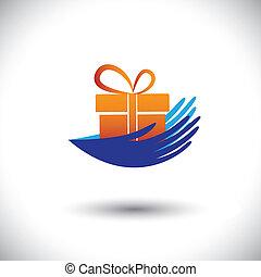 concepto, regalo, graphic-, mujer, icon(symbol), vector, manos