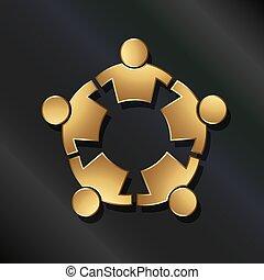 conectado, gente, circle., fuerte, trabajo en equipo, icono, vector, dorado, 5