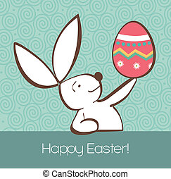 Conejo de Pascua con huevo pintado