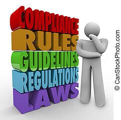 conformidad, reglas, pautas, legal, regulaciones, pensador