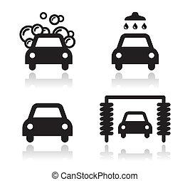 conjunto, iconos, coche, -, lavado, vector