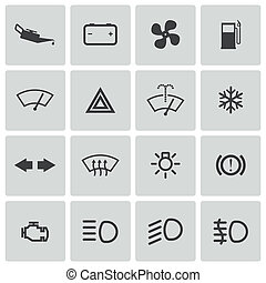 conjunto, iconos, coche, vector, tablero de instrumentos, balck