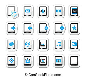 conjunto, tableta, balck, iconos
