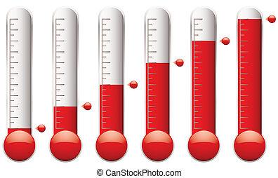 conjunto, termómetro