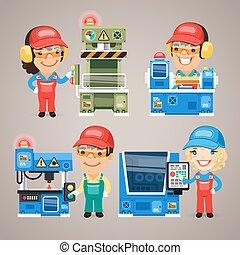 conjunto, trabajando, trabajadores, fábrica, caricatura, máquinas