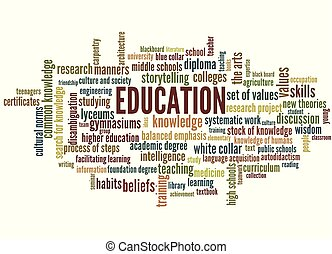 Conocimiento, aprendizaje, educación palabra etiqueta
