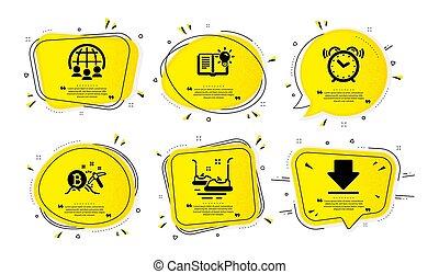 conocimiento, coches, parachoques, reloj, set., vector, iconos, producto, alarma