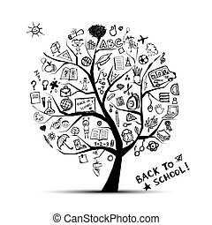 conocimiento, concepto, árbol, escuela, diseño, su