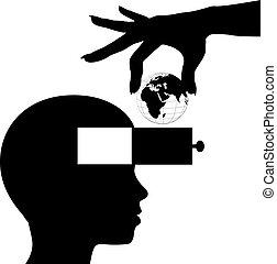 conocimiento, mente, estudiante, aprender, mundo, educación