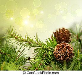 Conos de pino en ramas con antecedentes festivos