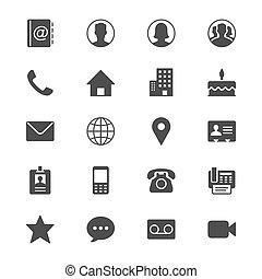 Contacta con iconos planos