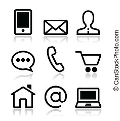 Contacta con los iconos de vectores de Internet