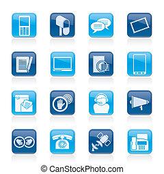 Contacto y iconos de comunicación