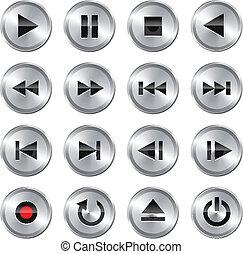 control, multimedia, conjunto, icon/button