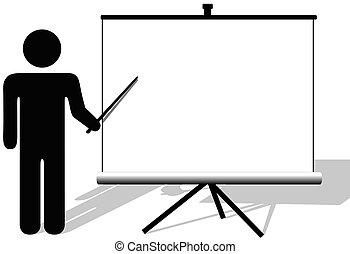 copyspace, película, símbolo, puntos, presentación, pantalla, hombre