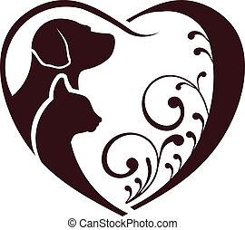 corazón, amor, perro, gato