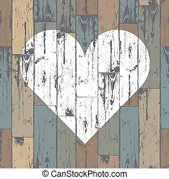 Corazón blanco de fondo de madera. Vector, EPS10
