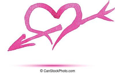 Corazón con flecha.