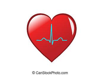 corazón, heart., sano, él, aislado, ritmo, retratar, seno, rojo blanco