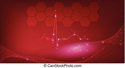 corazón, plano de fondo, normal, resumen, cardiograma, ritmo