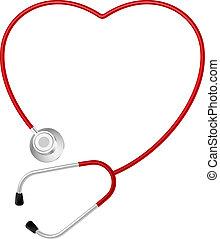 corazón, símbolo, estetoscopio