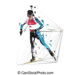 Corredor de Biathlon, ilustración de vectores aislados poligonales. Deporte de invierno