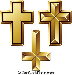 Cruceros cristianos gigantescos de oro