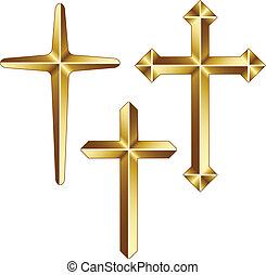 Cruces cristianas de vectores de oro