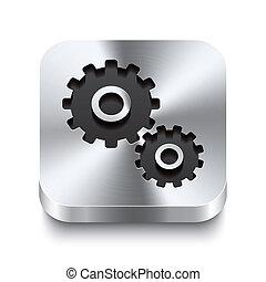 cuadrado, engranaje, metal, botón, -, perspektive, icono