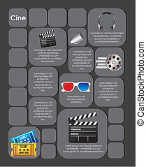 cuadrado, etiqueta, película, iconos