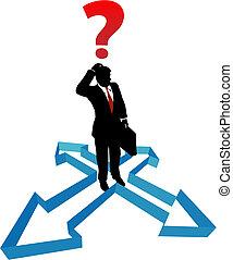 Cuestionar las flechas del hombre de negocios