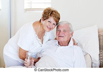 cuidado, esposa, enfermo, 3º edad, toma, marido, cuidado