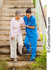 cuidado, porción, paciente de enfermera, 3º edad